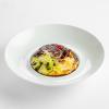 Говяжьи щечки, томленные в соусе перегор, с полентой и салатом с цукини